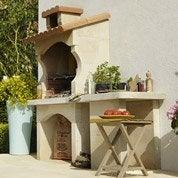Barbecue en béton blanc et orange Cusco, l.62 x L.180 x H.16...