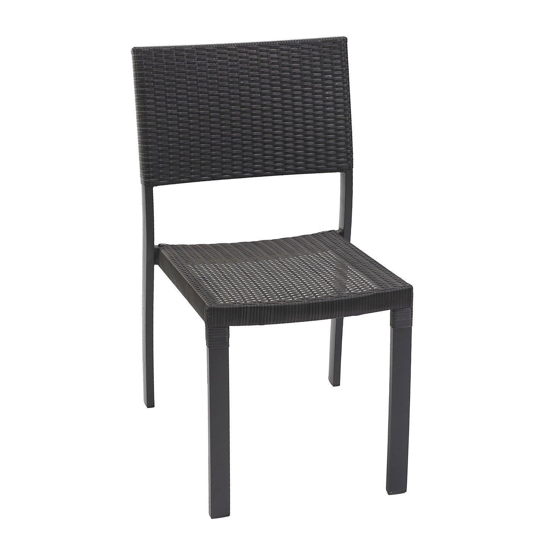 Chaise de jardin en r sine tress e gris anthracite leroy - Chaise jardin resine tressee ...