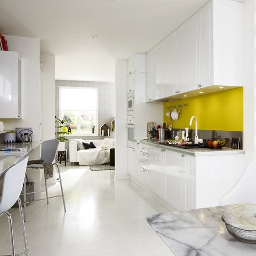 Meuble de cuisine blanc delinia chelsea leroy merlin for Meuble blanc de cuisine