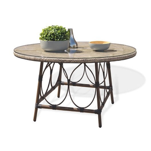 Table de jardin ushuaia ronde lin 4 personnes leroy merlin for Table jardin 4 personnes