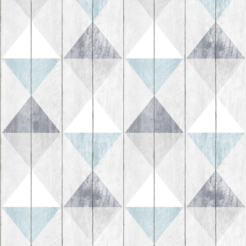 Papier Peint Intisse Planche Triangles Bleu Leroy Merlin