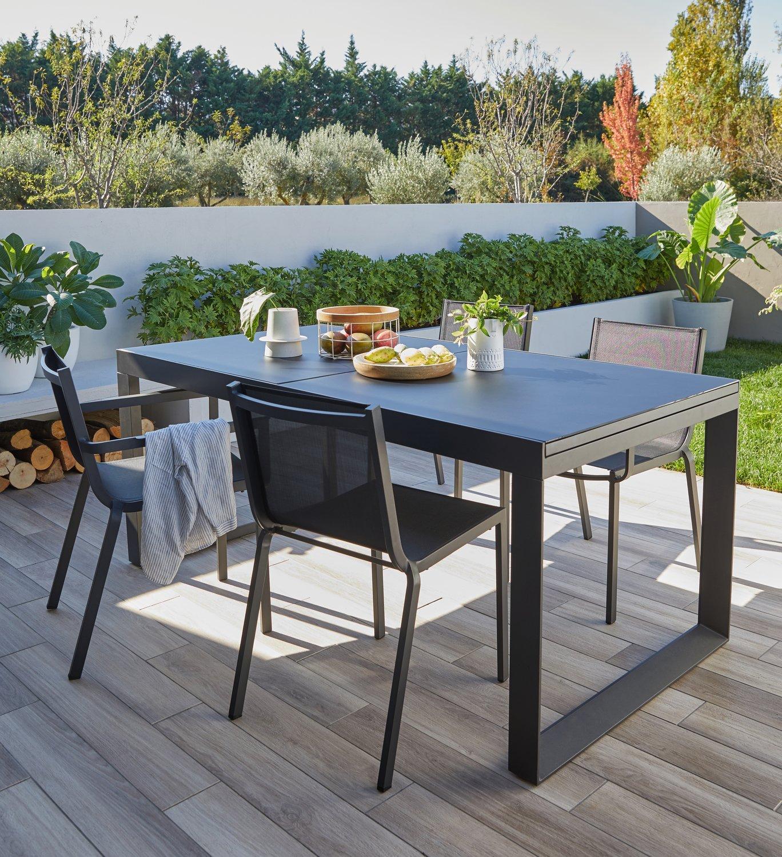Table de jardin avec rallonge Tempo L180 ou L240 x l90 cm aluminium et teck  PRO LOISIRS