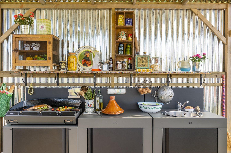 Evier Pour Cuisine D Été une cuisine d'extérieur avec plancha et évier | leroy merlin