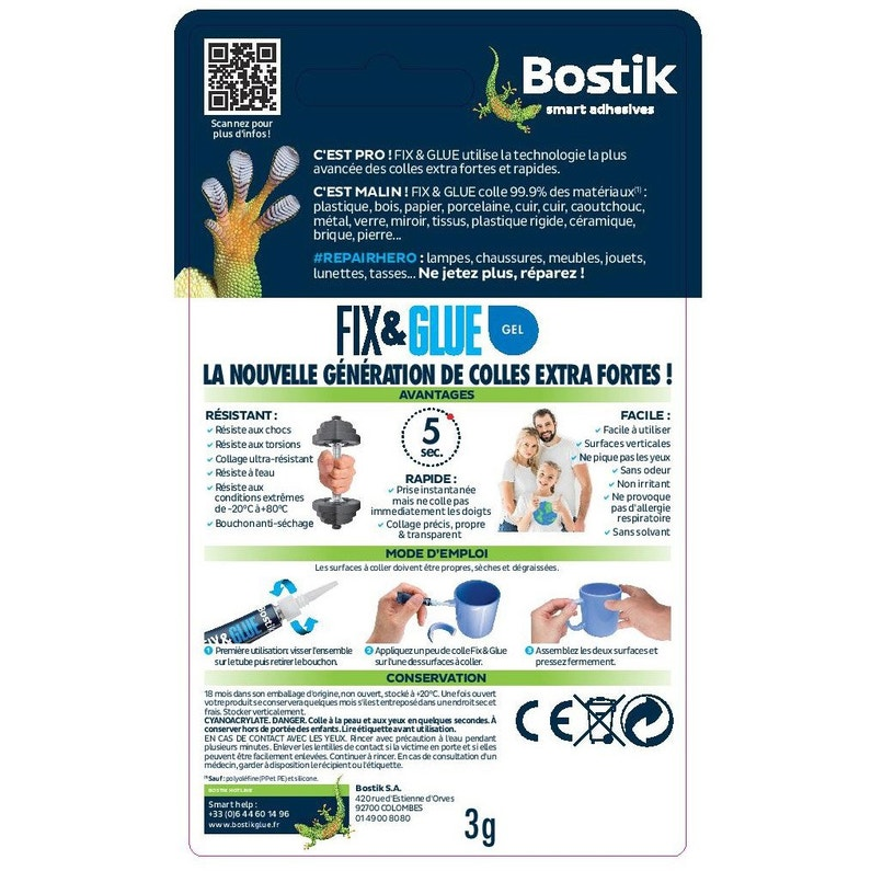 Colle Réparation Fix Glue Bostik 1 Tube De 3 Grammes