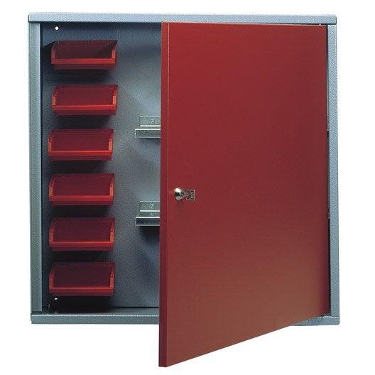 armoire de rangement avec 6 bo tes becs en m tal rouge. Black Bedroom Furniture Sets. Home Design Ideas
