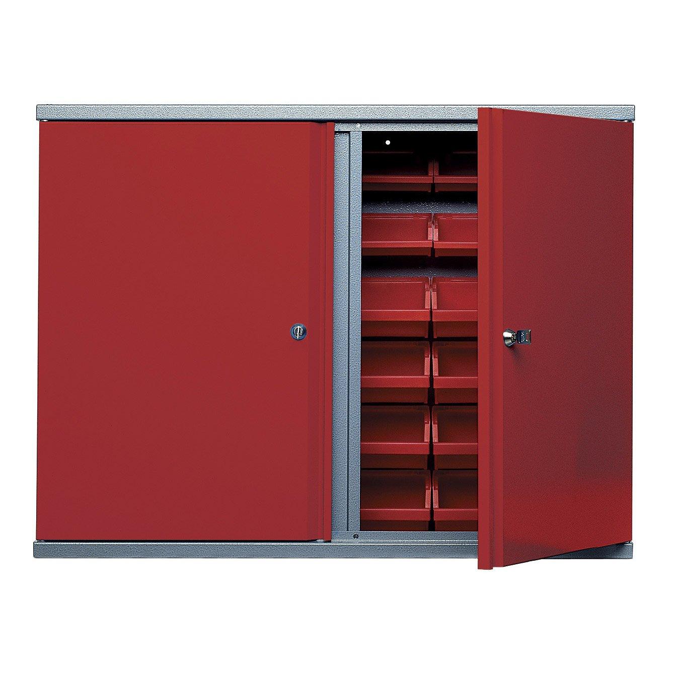 armoire de rangement avec 36 bo tes becs en m tal rouge. Black Bedroom Furniture Sets. Home Design Ideas