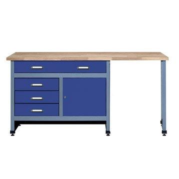 Etabli de mécanicien KUPPER, 170 cm, bleu, 4 tiroirs et 1 porte