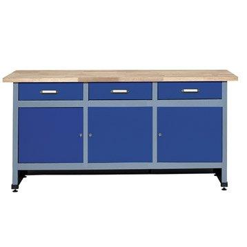 Etabli de mécanicien KUPPER, 170 cm, bleu, 3 portes et 3 tiroirs