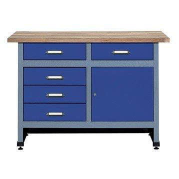 Etabli de mécanicien KUPPER, 120 cm, bleu, 1 porte et 5 tiroirs