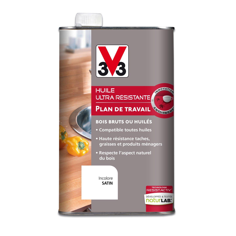 Huile plan de travail resist activ v33 0 5 l incolore leroy merlin - Peinture plan de travail v33 ...