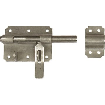 Verrou de box porte cadenas inox brossé, H.70 x L.120 x P.20 mm