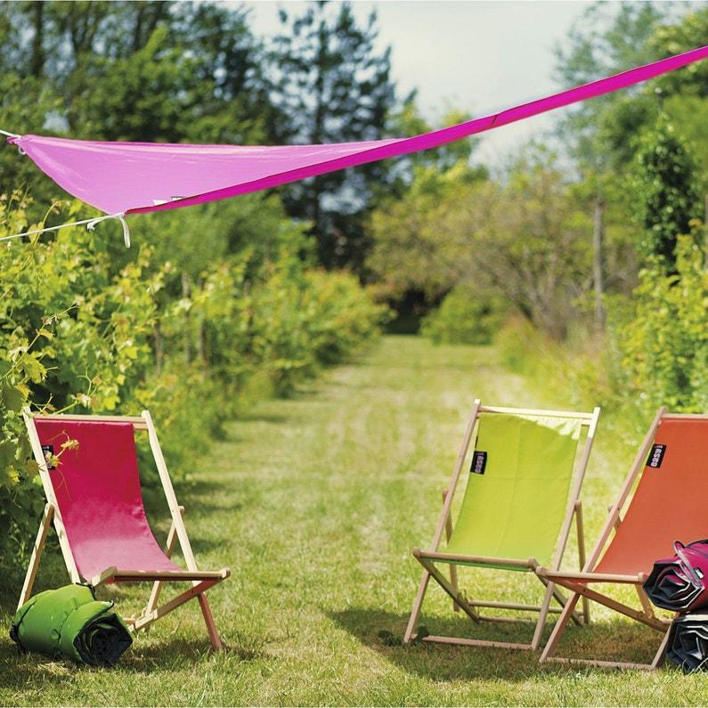Voile d\'ombrage triangle rose fuchsia L.280 x l.280 cm