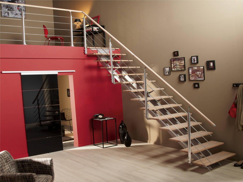 escalier quart tournant mona structure aluminium marche bois leroy merlin. Black Bedroom Furniture Sets. Home Design Ideas