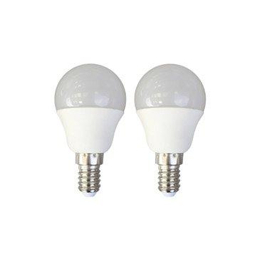 2 ampoules sphériques LED 6W = 470Lm (équiv 40W) E14 3000K 150° LEXMAN