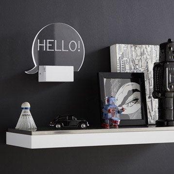 Applique design led intégrée Hello acrylique Transparent, 1 INSPIRE