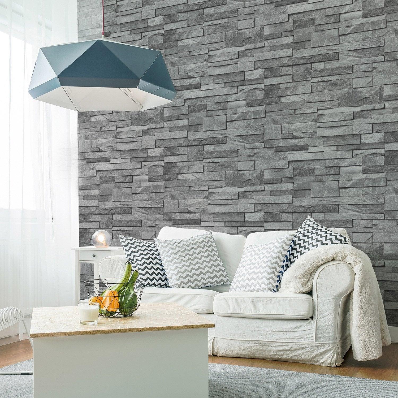 Papier peint intissé Brique marbre gris