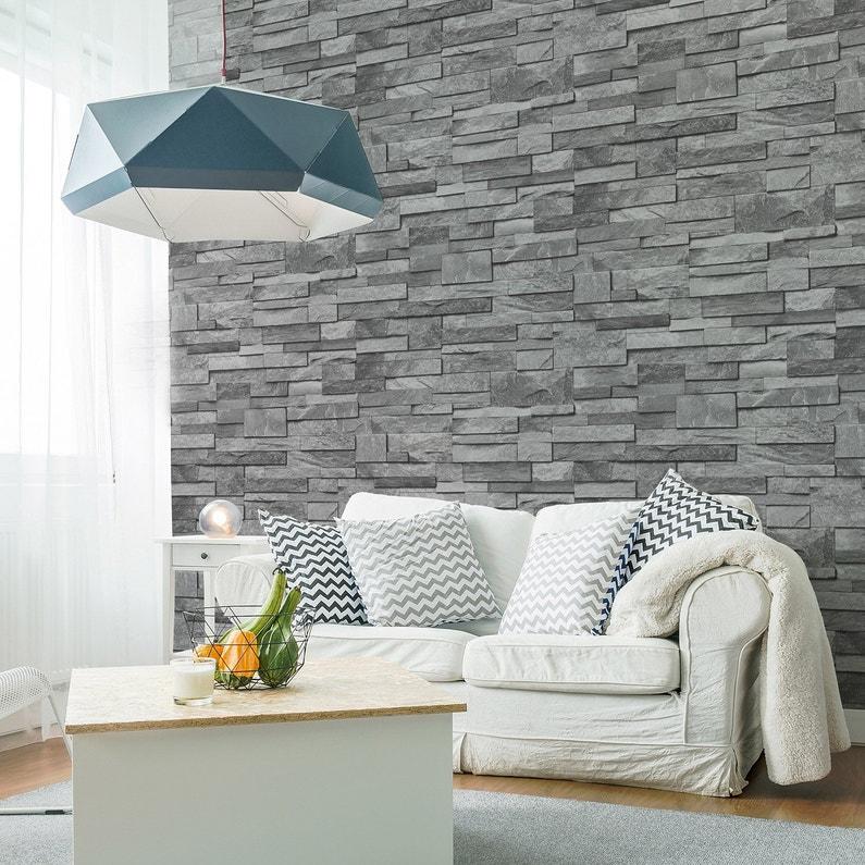Papier peint intissé Brique marbre gris | Leroy Merlin