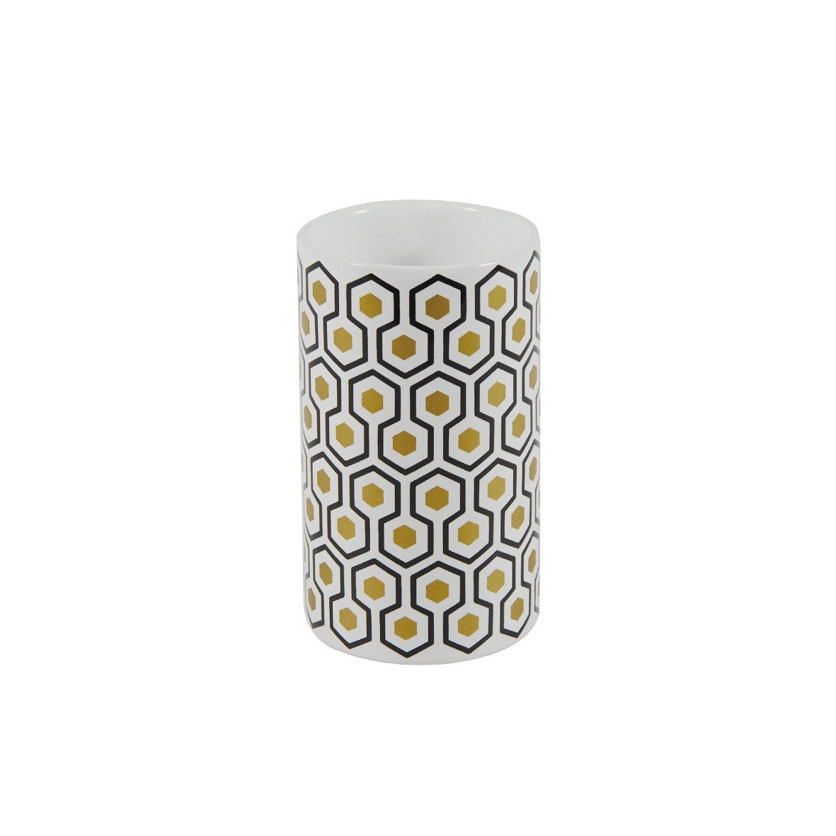 Gobelet céramique Carlton, blanc, noir et or