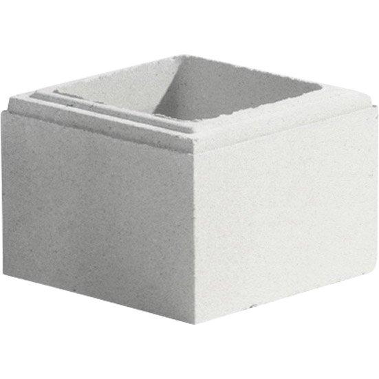Elément De Pilier Classique Lisse Blanc H 16 7 X L 25 X P 25 Cm