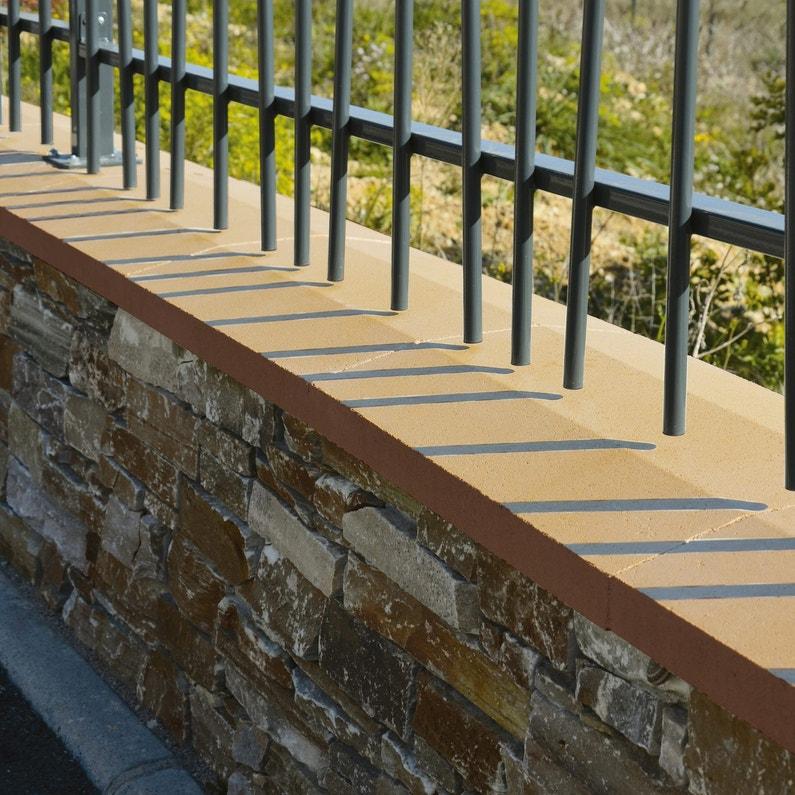 Couvre Mur 2 Pans Partie Plate Lisse Ton Pierre H4 X L28 X P49 Cm