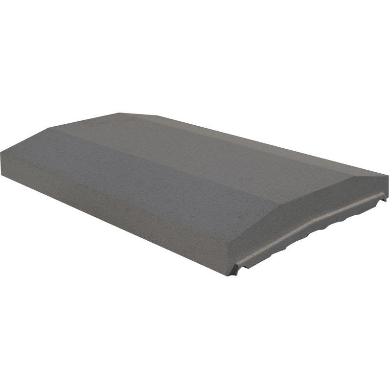Couvre Mur 2 Pans Partie Plate Lisse Gris H4 X L28 X P49 Cm