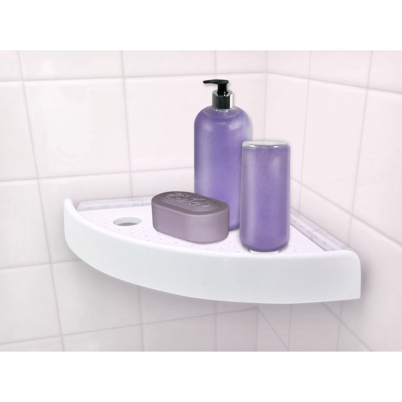 Etagère de bain / douche d\'angle bouton poussoir, blanche, Snap up shelf