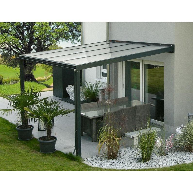 Couverture de terrasse adossée Exclu, aluminium couleur à choisir, 11.4 m²