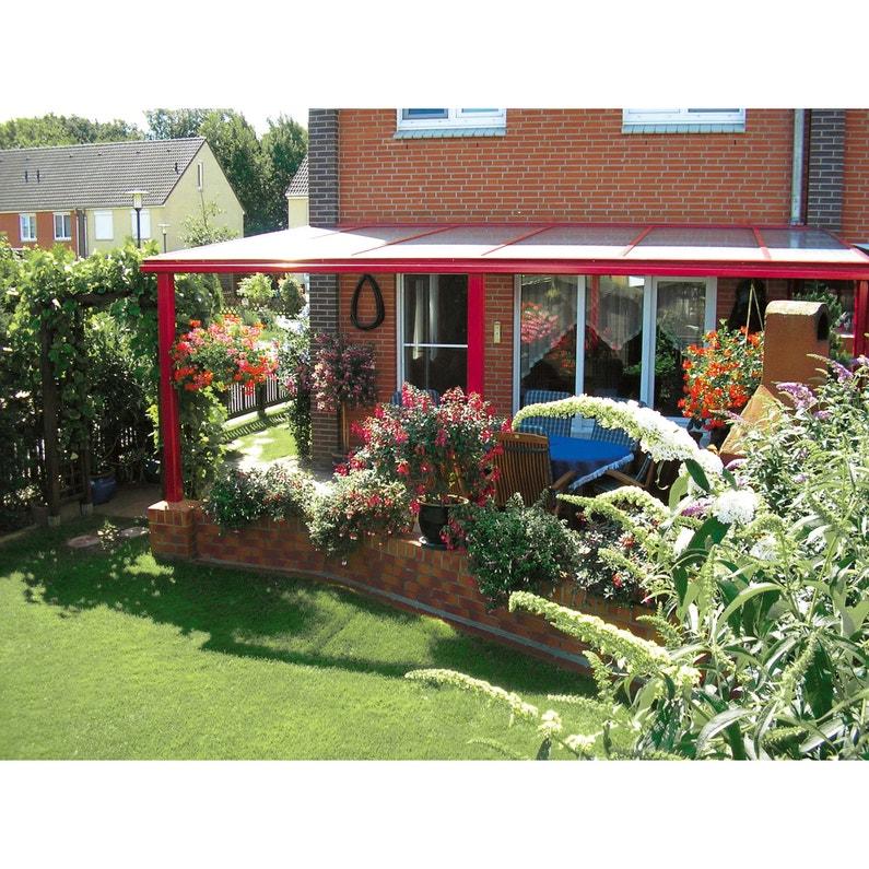Couverture de terrasse adossée Exclu, aluminium couleur à choisir, 16 m²