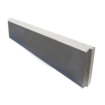 Bordure droite Longueur 1m - avec emboîtement béton gris, H.20 x L.100 cm