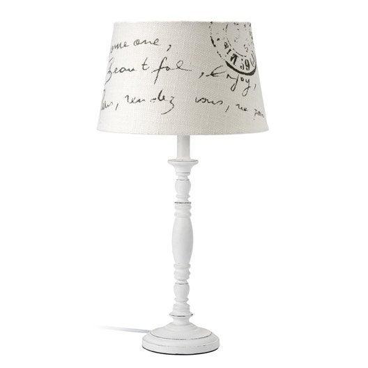 lampe stamp mathias coton blanc 28 w leroy merlin. Black Bedroom Furniture Sets. Home Design Ideas