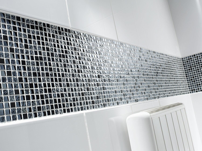 Carrelage Mosaique Mural Noir Brillant Et En Relief Pour Salle De