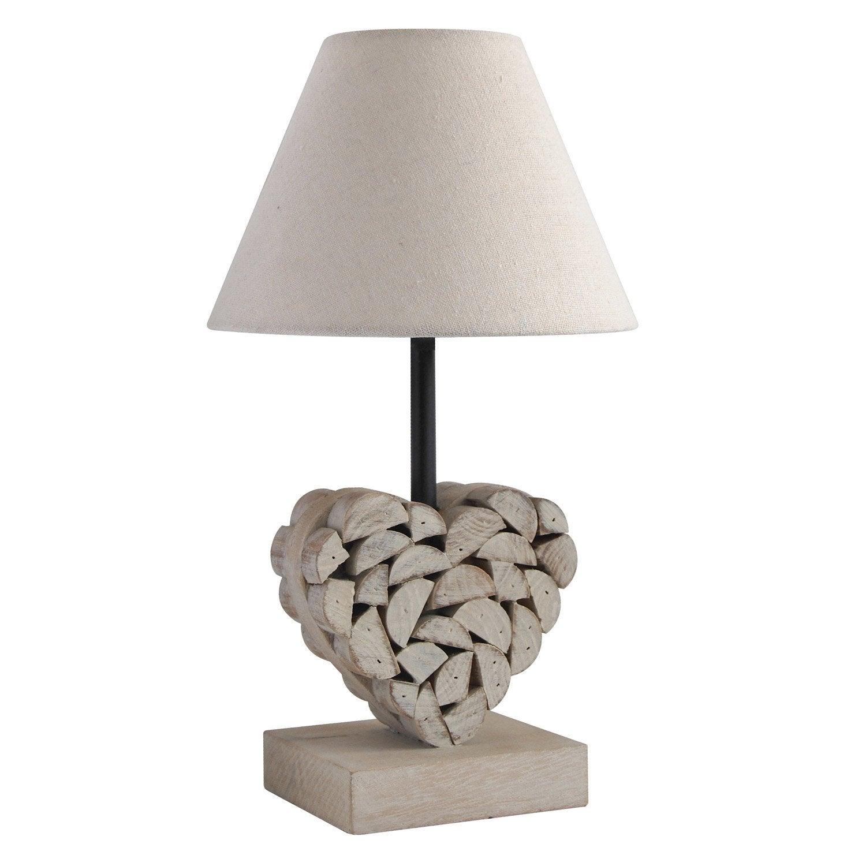 Lampe, romantique charme, bois bois naturel, SEYNAVE Carlita