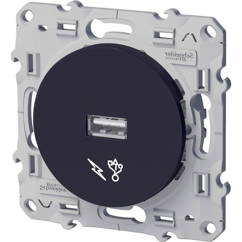 Prise Chargeur Usb Odace Schneider Electric Gris Anthracite