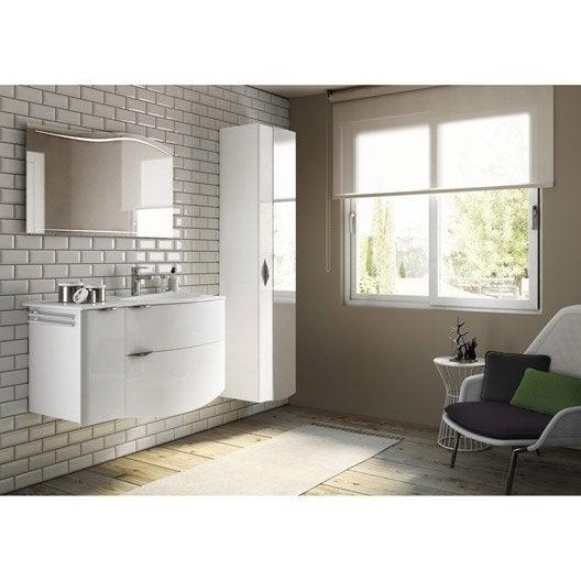 Meuble de salle de bains de 100 119 blanc beige for Salle de bain beige et blanc