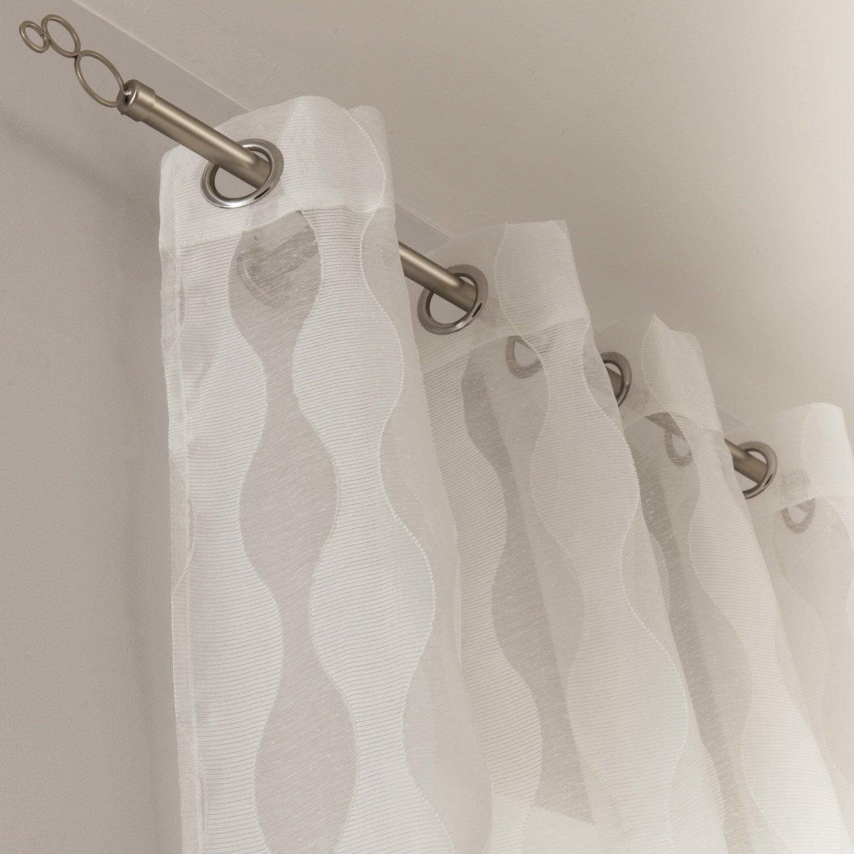 Voilage tamisant, Wellen, blanc, l.140 x H.260 cm INSPIRE