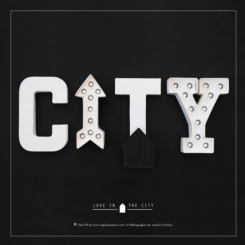 Toile Led Mot City L30 X H30 Cm