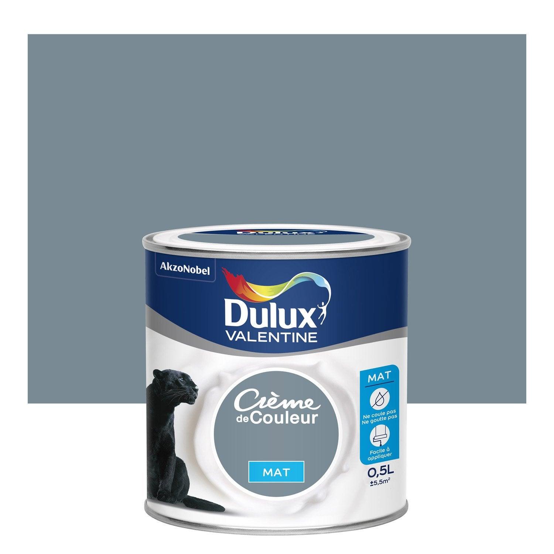 Peinture Bleu Gris Mat DULUX VALENTINE Crème De Couleur 0.5 L