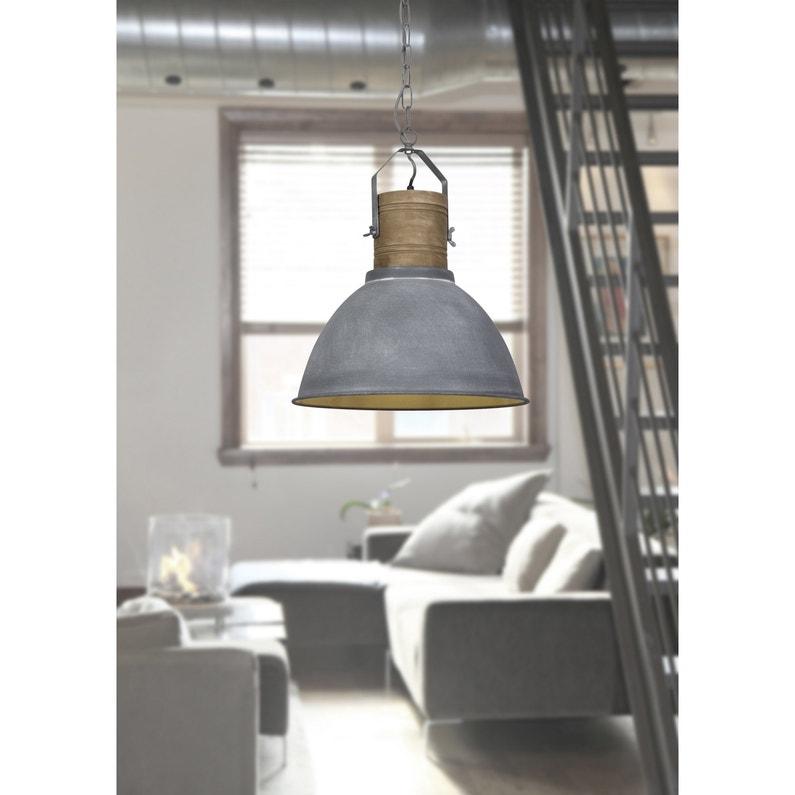 Suspension, e27 style industriel FRIEDA métal gris béton bois 1 x 60 W  BRILLIANT
