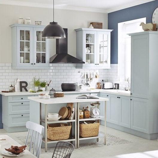Meuble de cuisine bleu delinia ashford leroy merlin for Cuisine bleu mat