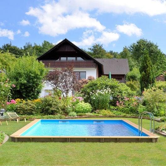 piscine hors sol bois odyssea proswell l85 x l45 x - Margelle Bois Piscine Leroy Merlin