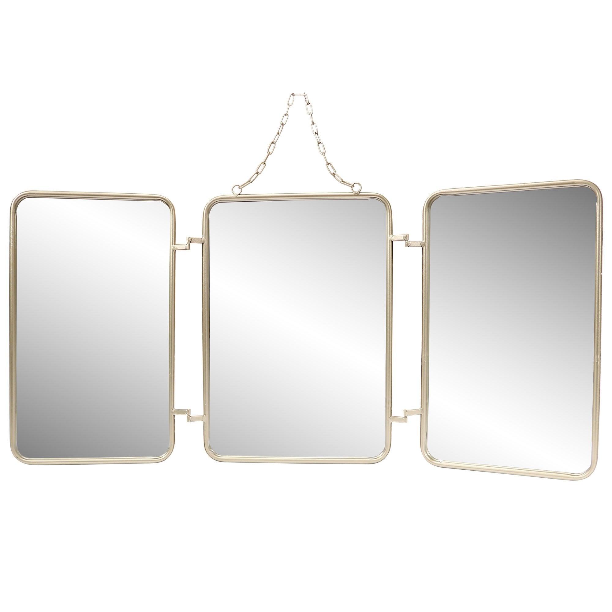Miroir rectangulaire Barbier triptyque, argent, l.105 x H.50 cm