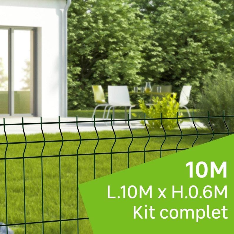 Kit Grillage Rigide 10 M à Sceller Naterial Vert H06 M