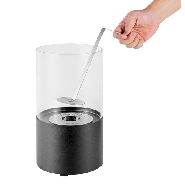 Cheminée Décorative à éthanol Pour Extérieur Qlima Ffb017 Inox Et Verre Noir