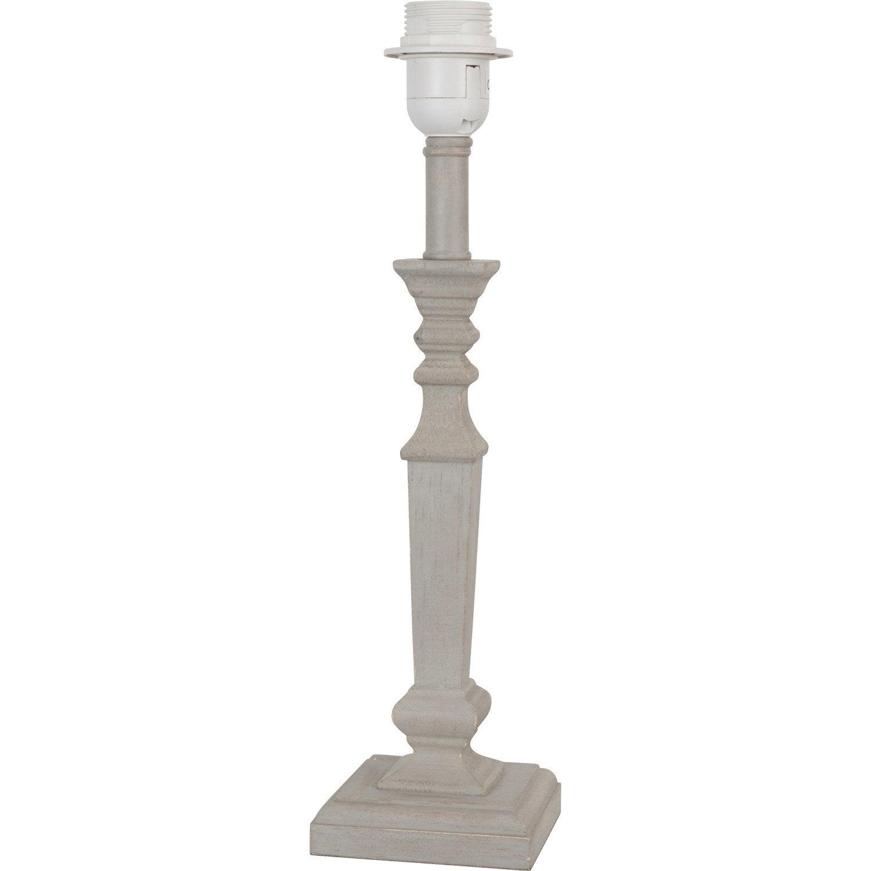 Pied De Lampe Jack Bois Taupe 38 Cm Pied De Lampe