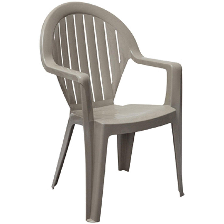 fauteuil de jardin en résine miami taupe | leroy merlin