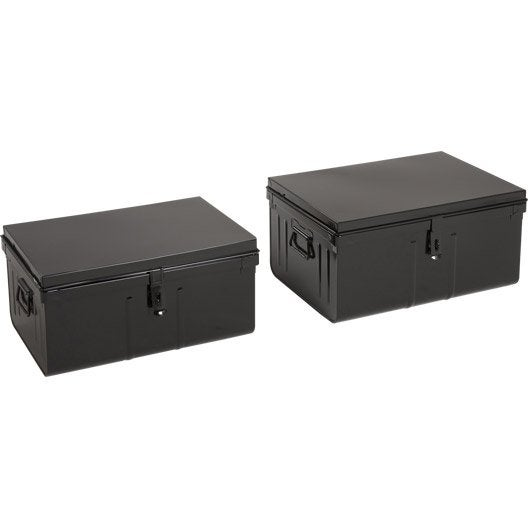 lot de 2 cantines fun snor en m tal leroy merlin. Black Bedroom Furniture Sets. Home Design Ideas