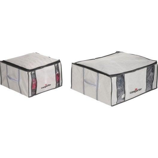 lot de 3 housses de rangement sous-vide compactor blanc h.27 x l