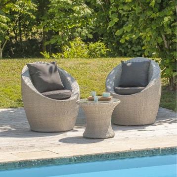 Salon bas de jardin Portovecchio résine tressée gris, 2 ...