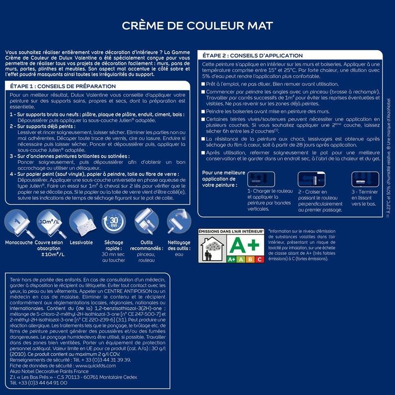 Peinture Lin Blanc Mat Dulux Valentine Creme De Couleur 0 5 L