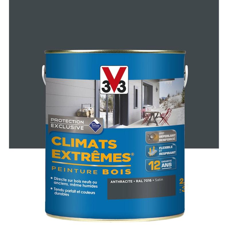 Peinture Bois Extérieur Climats Extrêmes V33 Gris Anthracite 25 L